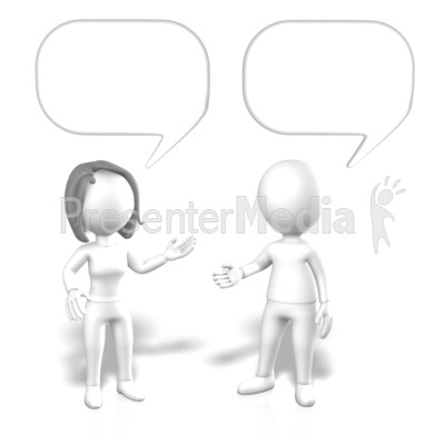 Stick Man Woman Speech Bubbles Presentation clipart