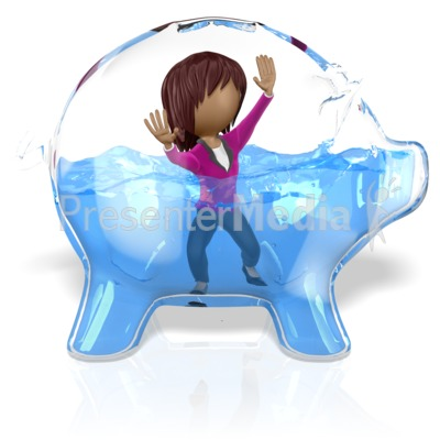 Piggy Bank Glass Water Female Figure Presentation clipart