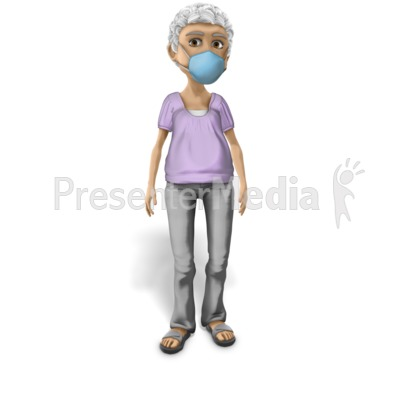 Elderly Woman Wearing Protective Mask Presentation clipart
