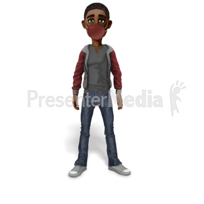 Guy Standing Wearing Mask Presentation clipart