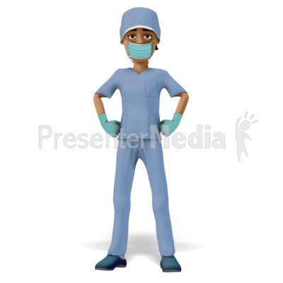 Man Scrubs Mask Stand Proud Presentation clipart