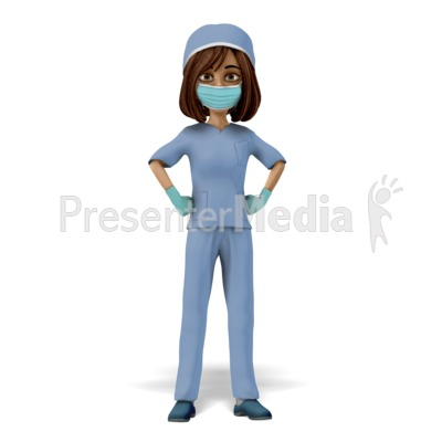 Woman Scrubs Mask Stand Proud Presentation clipart