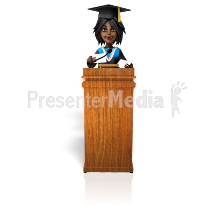 Female Graduation Podium Presentation clipart