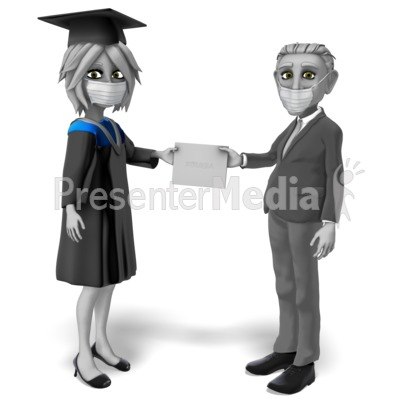 Female Student Mask Receiving Diploma Presentation clipart