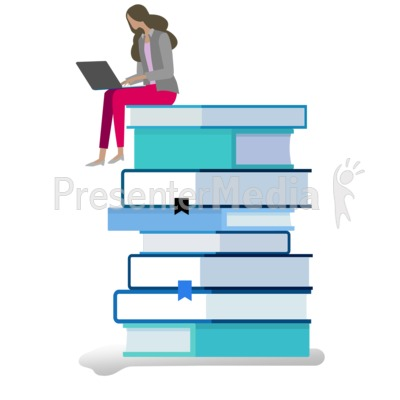 Woman Life With Books Presentation clipart