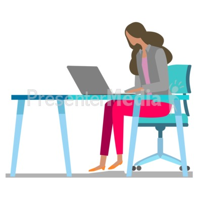 Woman Table Laptop Presentation clipart