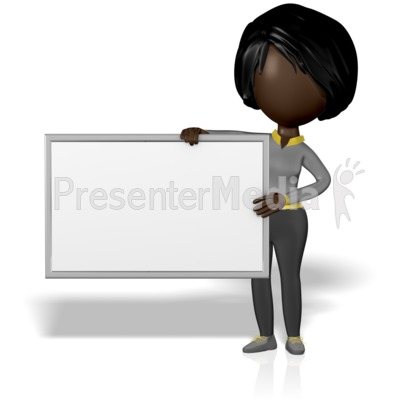 Woman Figure Holding Blank Sign Presentation clipart