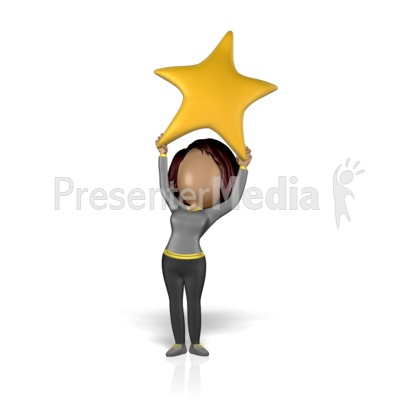 Woman Figure Holding Up Star Presentation clipart