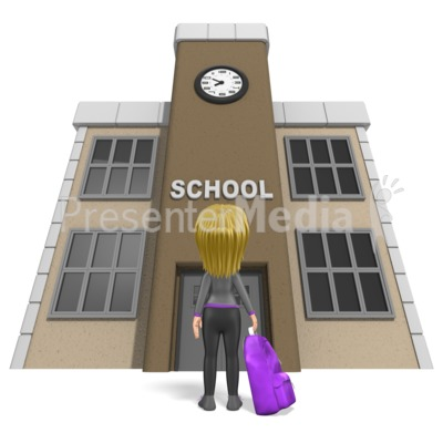 Stick Girl School Backpack Presentation clipart