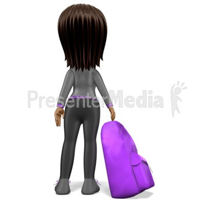 Stick Girl Student Backpack Presentation clipart