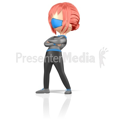 Stickwoman Standing Proud Mask Presentation clipart