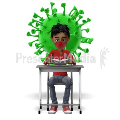 Masked Student With Coronavirus Behind Presentation clipart