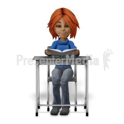 Girl Student Sitting At Desk Reading Presentation clipart