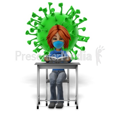 Masked Girl Student At Desk Reading With Coronavirus Presentation clipart