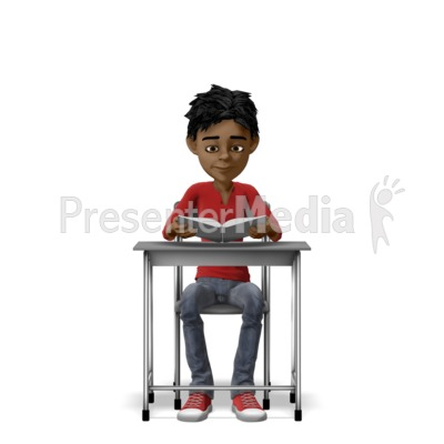 Boy Reading With At Desk Presentation clipart
