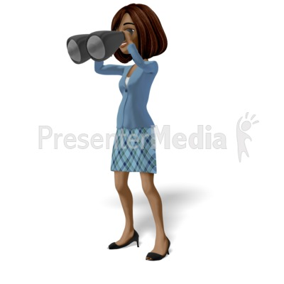 Businesswoman Searching With Binoculars Presentation clipart