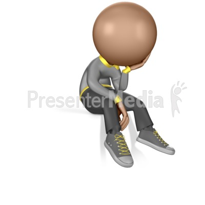 Figure Sitting on the Edge of a Ledge Presentation clipart