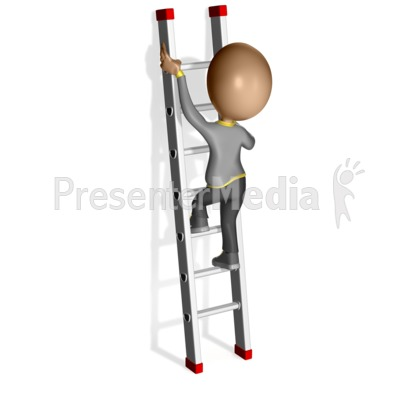 Figure Climbing Up a Ladder Presentation clipart