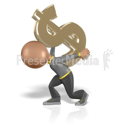 Figure With Dollar Symbol On Back Presentation clipart