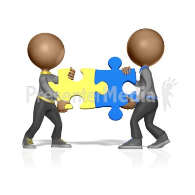Two Figures Solving Puzzle Presentation clipart