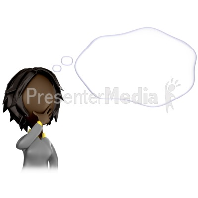 Woman Figure With A Thought Bubble Presentation clipart