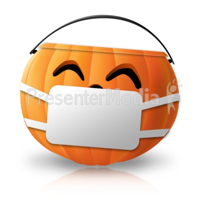 Halloween Candy Pail Mask Presentation clipart