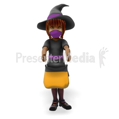 Young Witch Wearing a Covid Mask on Halloween Presentation clipart