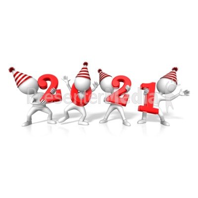 Figures Holding the Year 2021 Presentation clipart