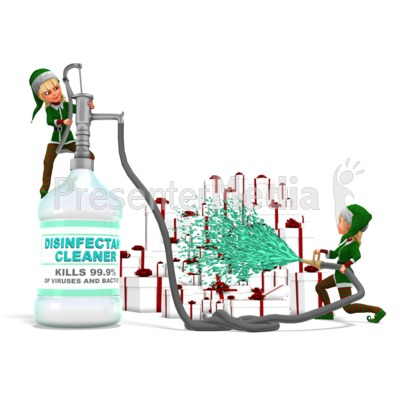 Santa's Helpers Disinfecting Presents Presentation clipart