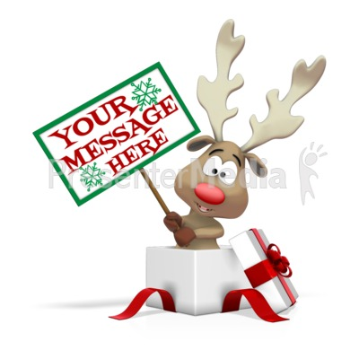 Reindeer Holding Sign In Present Presentation clipart