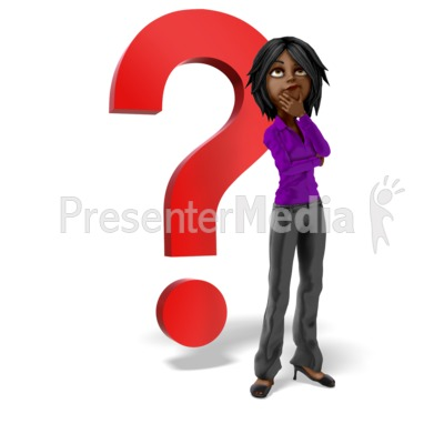 Businesswoman Question Mark Thinking Presentation clipart