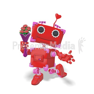 Valentine Robot With Flowers Presentation clipart