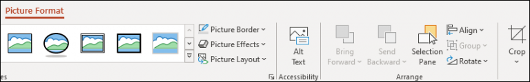 An image showing the Picture Format ribbon in PowerPoint.