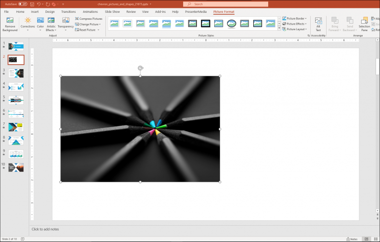 An image of pictures cropped into shapes using PowerPoint.