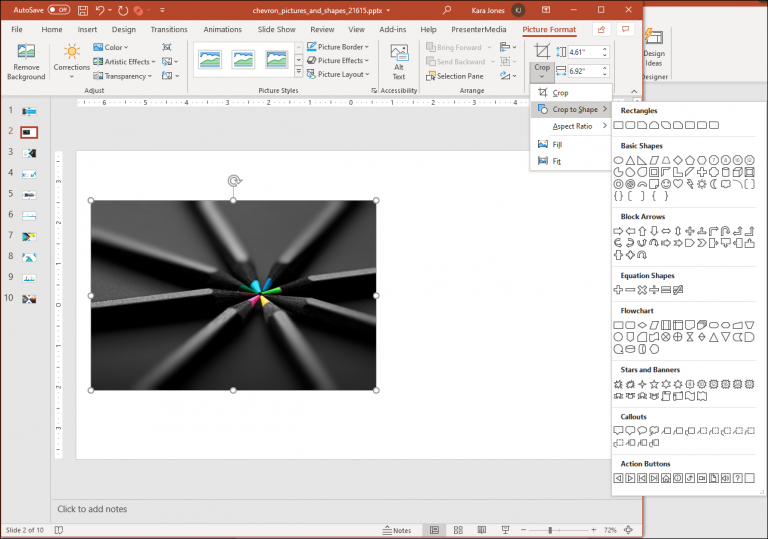 An image showing steps to crop an image with a shape in PowerPoint.