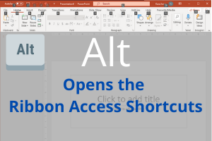 A screenshot of PowerPoint interface with alt command instructions.