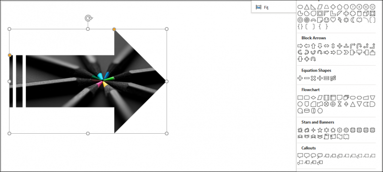 An image showing what a picture loading into PowerPoint looks like once it's cropped into an arrow shape.