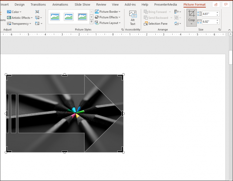 An image showing what a crop bounding box looks like around a cropped picture in Microsoft PowerPoint.