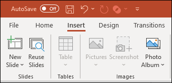 An image showing the insert options inside the PowerPoint ribbon.