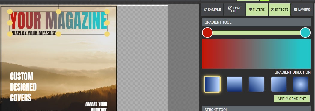 A preview of presentermedia's graphics customizer showing the gradient section.