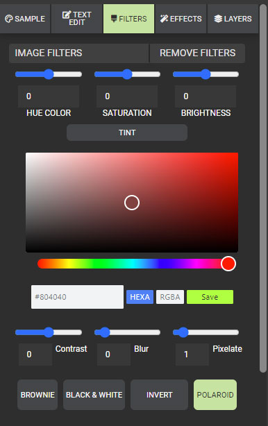 A preview of presentermedia's graphics customizer filters section