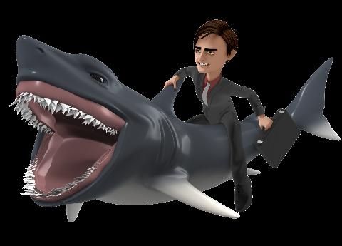 A businessman riding a great white shark